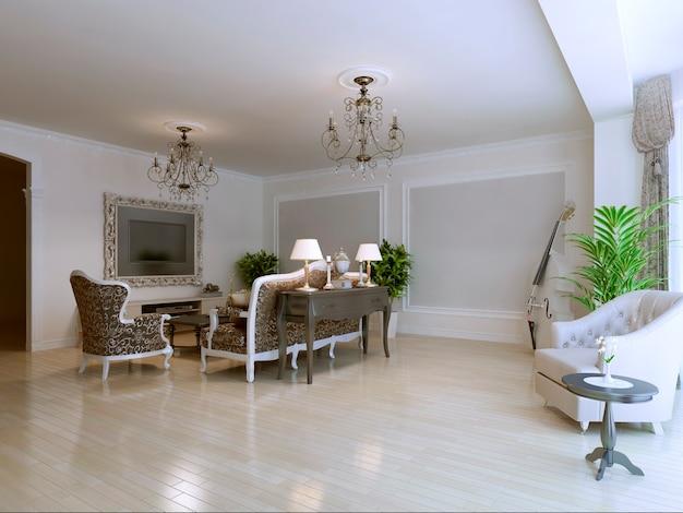 Светлая гостиная в доме в стиле арт-деко