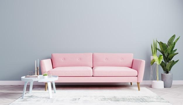 밝은 거실은 분홍색 소파와 나무 바닥이있는 하늘색 벽으로 조롱합니다.