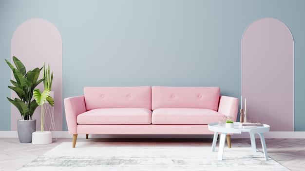 밝은 거실은 분홍색 소파와 하늘색 벽으로 조롱합니다.