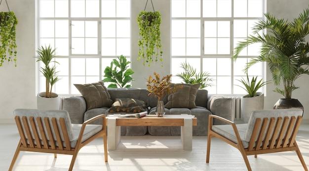 큰 창문과 식물 inustrial 스타일의 많은 3d 렌더링 밝은 거실