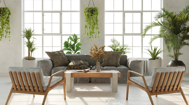 Bright living room wiht large windows and lots of plants inustrial style 3d render
