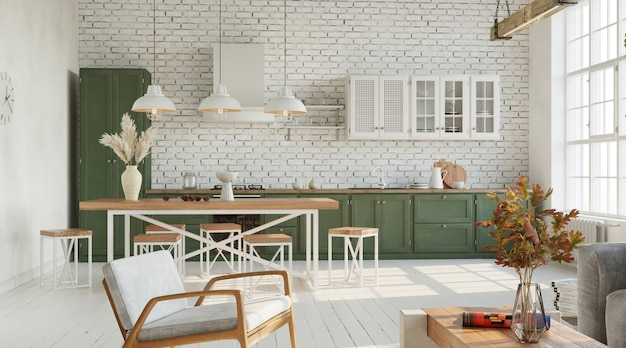 Bright living room with kitchen industrial style 3d render
