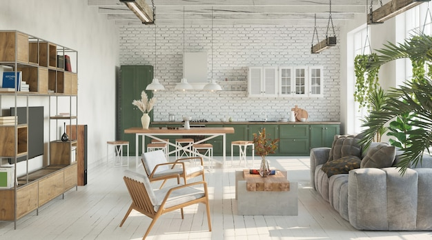 Bright living room with kitchen in loft industrial style 3d render