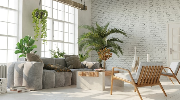 Bright living room with white brick wall industrial style 3d render