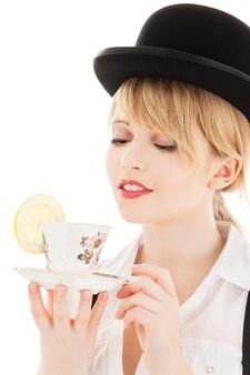 お茶と明るい素敵な女の子