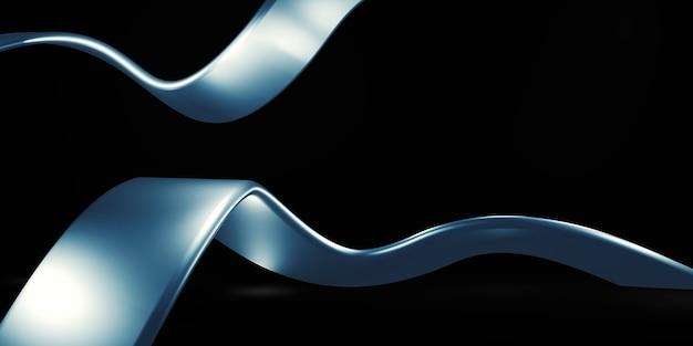 Яркая металлическая лента сверкающий блеск черный фон 3d иллюстрация