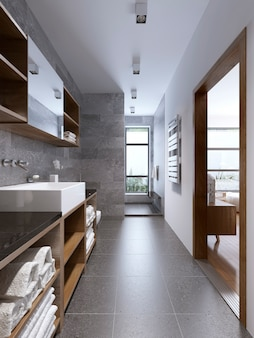 Светлый современный интерьер ванной комнаты с отдельным душем.