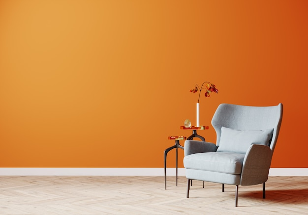 Bright modern interior background mock up with orange wall