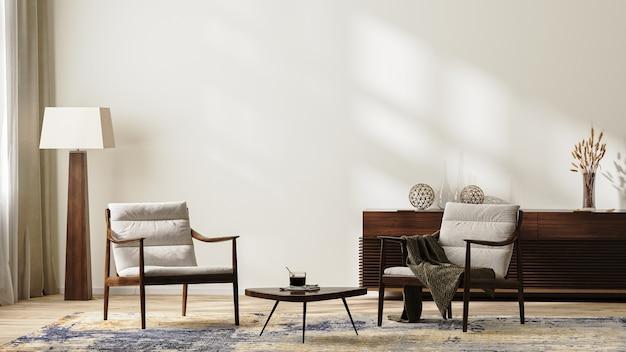 안락의자, 플로어 램프, 깔개, 커피 테이블, 가정 장식이 있는 서랍장, 넓은 빈 벽, 3d 렌더가 있는 중성 색상의 밝고 현대적인 거실