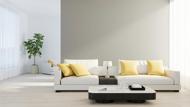 나무 라미네이트에 흰색 소파, 램프 및 녹색 식물이 있는 밝고 현대적인 거실. 스칸디나비아 스타일, 아늑한 인테리어 배경. 밝고 세련된 객실 모형. 3d 렌더링