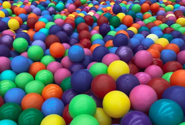 Яркие разноцветные шары для бассейна для детских игр. игрушки для детей, развлечения для малышей. используйте в каталогах детских магазинов, рекламных развлекательных центрах. яркий многоцветный фон