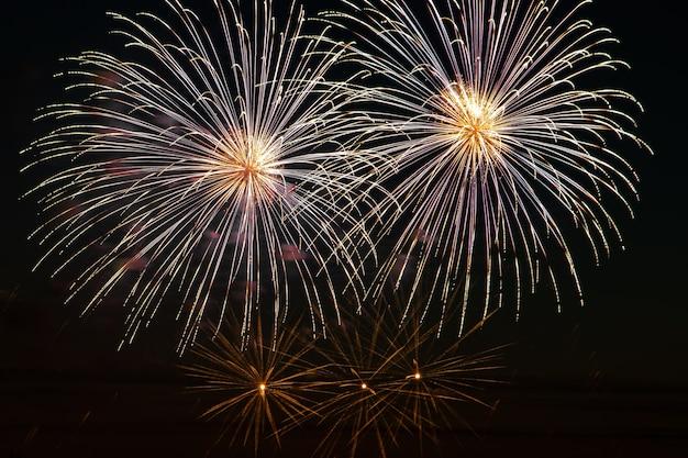 축제 밤에 밝은 멀티 컬러 불꽃 놀이. 휴일 동안 어두운 하늘에서 아름다운 색상이 깜박입니다.