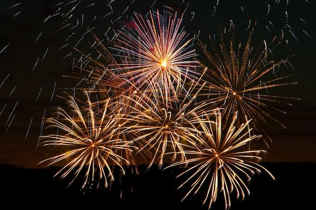 축제 밤에 밝은 멀티 컬러 불꽃 놀이