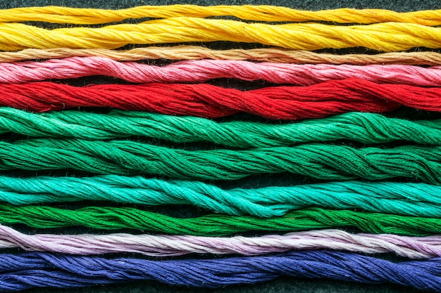 Bright multicolored embroidery thread yarns