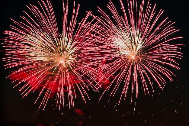 お祝いの夜に明るい色とりどりの花火暗い空に美しい色が点滅します