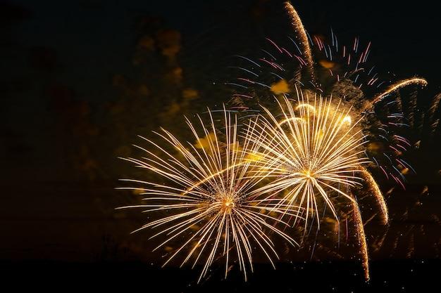 축제의 밤에 밝은 여러 가지 빛깔의 불꽃놀이 하늘에서 색색의 불의 폭발