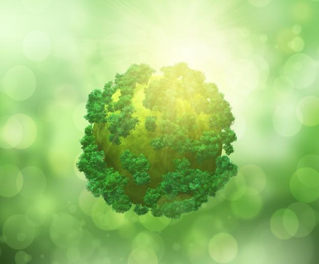 3d визуализации деревьев на земном шаре на боке светлом фоне
