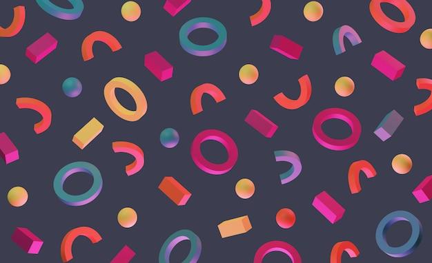 80年代スタイルのネオメンフィススタイルの明るいネオン3d背景パターン。抽象的な幾何学的形状