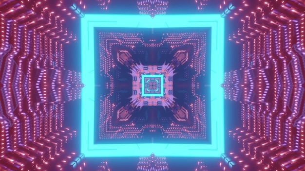 Bright neon blue square pattern forming futuristic sci fi corridor in lights 3d illustration