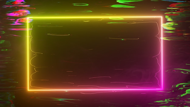 A bright neon frame shimmers with a neon spectrum against a water background. 3d illustration