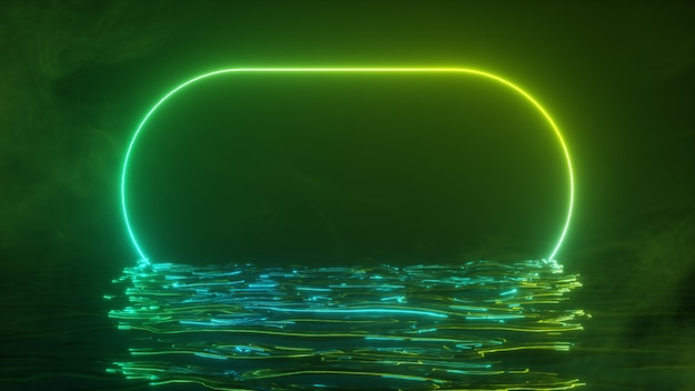 A bright neon frame shimmers with a neon spectrum of light in the water. smoky background. 3d illustration