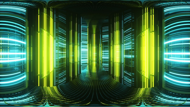 金属製の部屋の明るいネオンライト