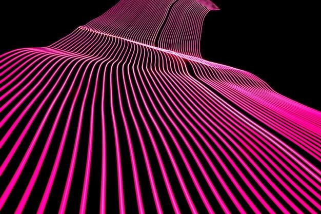 明るいネオンラインデザインの背景。ラインスタイルのモダンな背景。抽象的で創造的な効果、照明のある質感