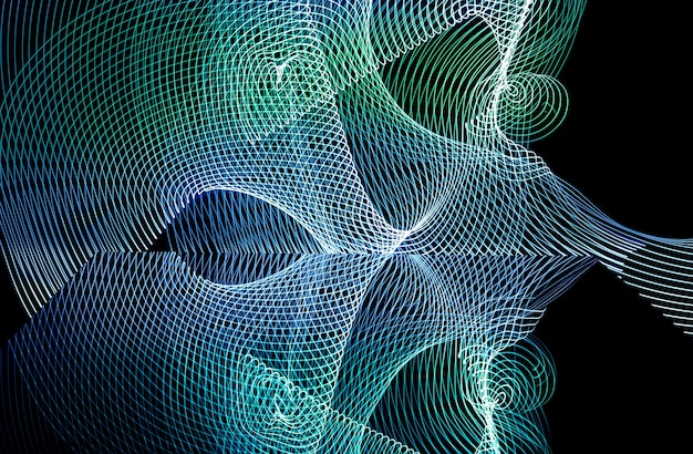 Bright neon line designed background, shot with long exposure, blue