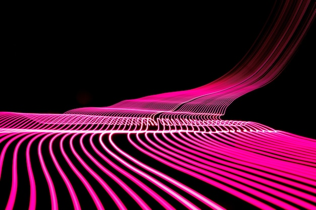 Bright neon line designed background, shot with long exposure, pink