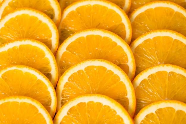 Bright orange background from slices of juicy orange. healthy food, background.