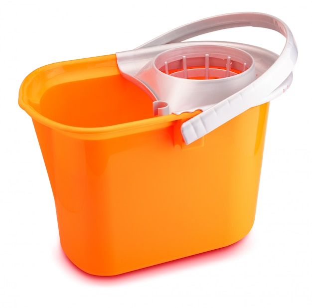 Bright orange mop bucket on wihte