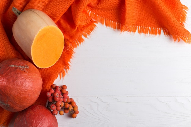 Bright orange warm shawl, pumpkins and berries on a white background, autumn mood, copyspace.
