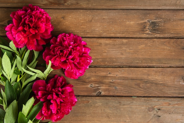 Bright peony flowers on brown wooden table. womans day or wedding background.