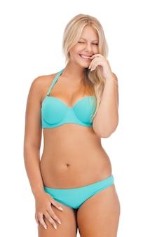 Bright picture of beautiful woman in bikini