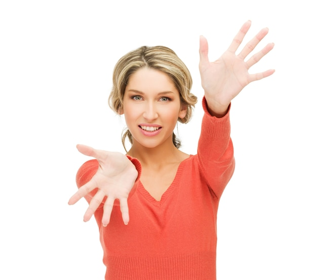 Bright picture of happy woman showing her palms.