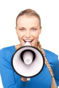 Яркая картина красивой женщины с мегафоном