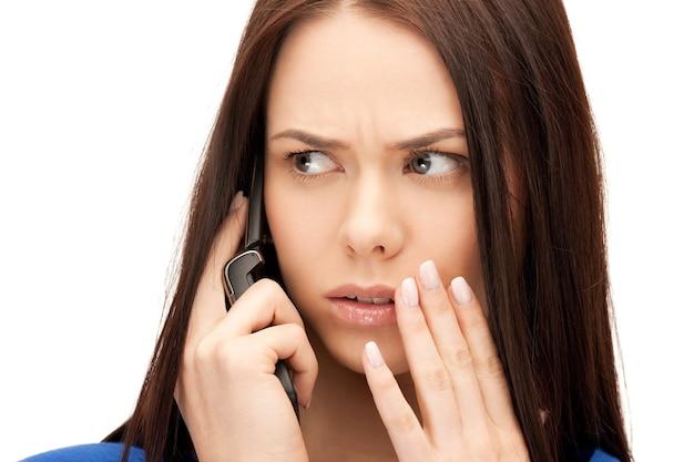 휴대 전화와 사업가의 밝은 사진