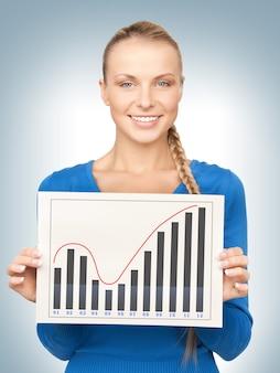 成長グラフを搭載した自信のある女性の明るい写真