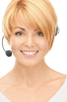 フレンドリーな女性ヘルプラインオペレーターの明るい写真