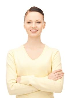 幸せで笑顔の女性の明るい写真