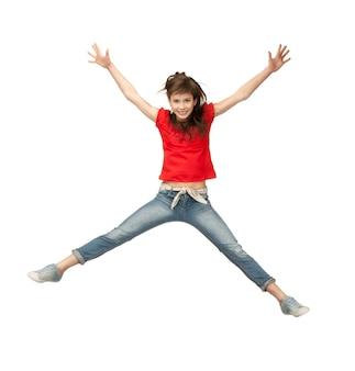 Яркая картина счастливой прыгающей девочки-подростка