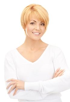 白の上の素敵なビジネス女性の明るい写真