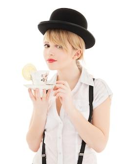 お茶と素敵な女の子の明るい写真