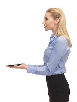 Яркая картина женщины с планшетным пк