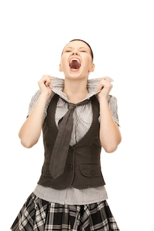 Bright picture of screaming teenage girl over white