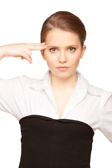 Bright picture of unhappy woman showing suicide gesture