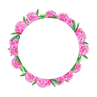 Bright pink peonies. round floral frame background. watercolor hand drawn illustration.
