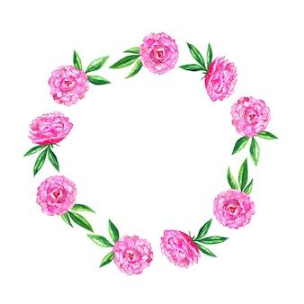鮮やかなピンクの牡丹。丸い花柄。水彩手描きイラスト。