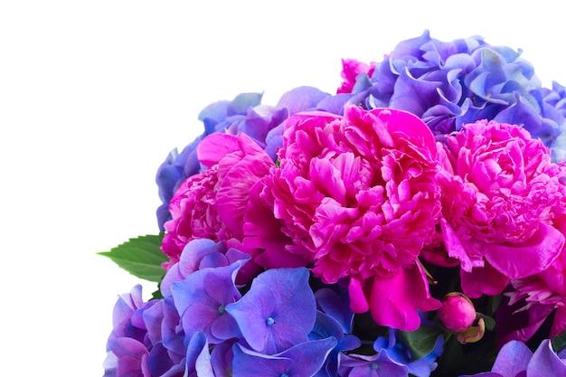 明るいピンクの牡丹と青いオルテンシアの花の花束が白で隔離されてクローズアップ