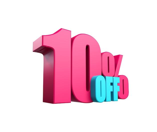 밝은 분홍색, 볼륨 있는 3d 비문: 10% 할인, 흰색 배경에 격리됨. 디자인 할인, 디자인, 판매, 웹 요소입니다. 3d 렌더링